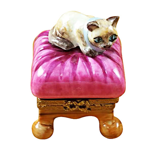 Cat on Pink Pillow Limoges Box