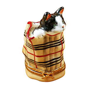 Cat in Burberry Bag Limoges Box