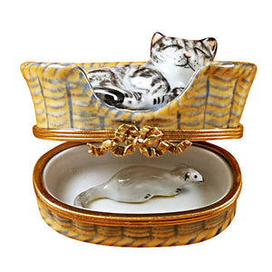Dreaming Cat with Mouse Inside Limoges Box
