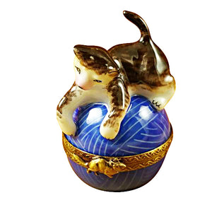 Cat on Blue Yarn Limoges Box