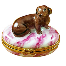 Load image into Gallery viewer, Dachshund Pink Base Limoges Box