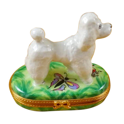 White Poodle on Green Base Limoges Box