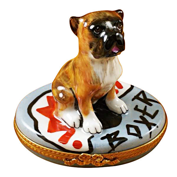 Boxer on Gray Base Limoges Box
