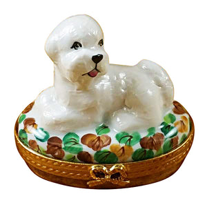 Bichon Lying Down Limoges Box