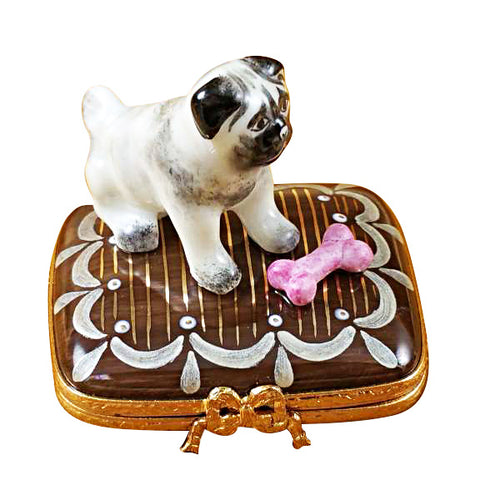 Pug on Base with Bone Limoges Box