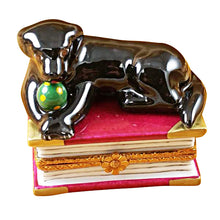 Load image into Gallery viewer, Black Labrador on Book Limoges Box