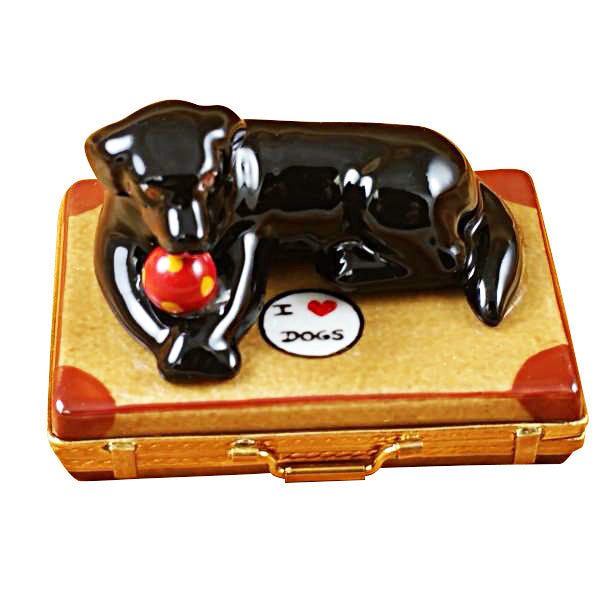 Black Labrador on Suitcase Limoges Box