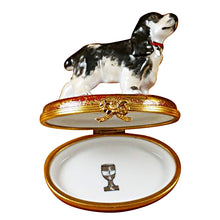 Load image into Gallery viewer, Black & White Cocker Spaniel Limoges Box