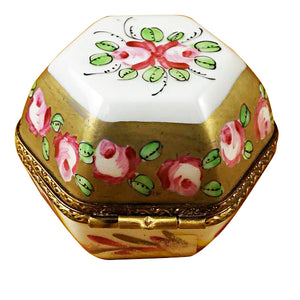 Hexagon with Flowers Limoges Box