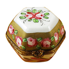 Load image into Gallery viewer, Hexagon with Flowers Limoges Box