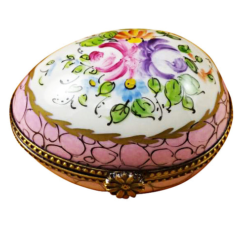 Egg with Pink and Flowers Limoges Box
