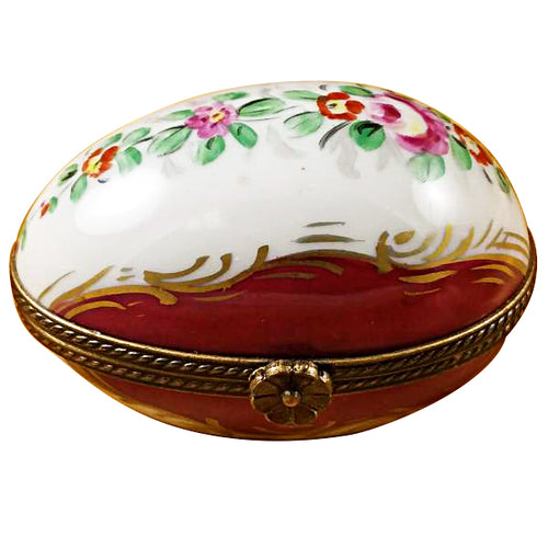 Burgundy Egg with Flowers Limoges Box
