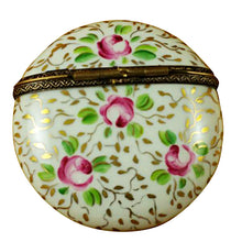 Load image into Gallery viewer, Round with Gold and Pink Flowers Limoges Box