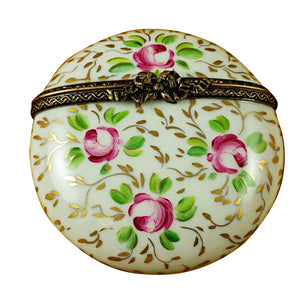 Round with Gold and Pink Flowers Limoges Box