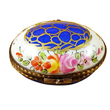 Load image into Gallery viewer, Blue Oval with Gold Circles Limoges Box