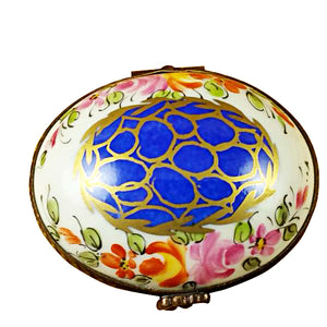 Blue Oval with Gold Circles Limoges Box