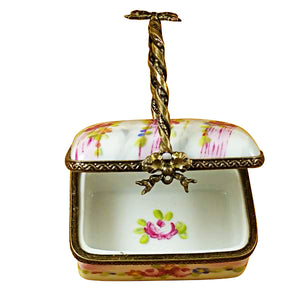 Pink Basket with Handle Limoges Box