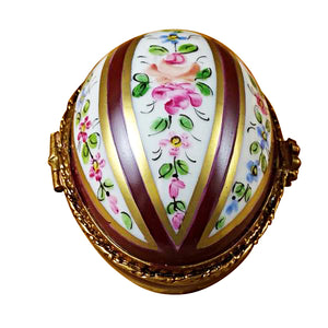 Burgundy Striped Egg Limoges Box
