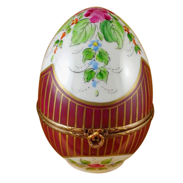 Large Burgundy Egg with Flowers Limoges Box