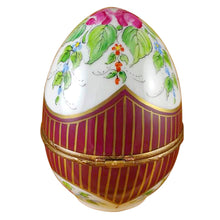 Load image into Gallery viewer, Large Burgundy Egg with Flowers Limoges Box