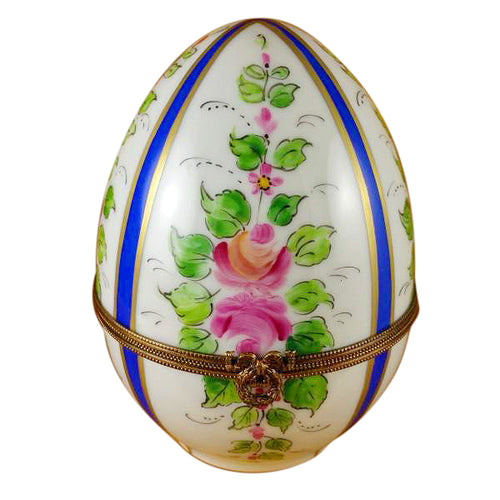 Large Blue Striped Egg with Flowers Limoges Box