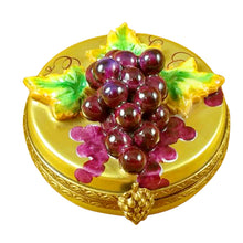 Load image into Gallery viewer, Grapes on Gold Oval Limoges Box