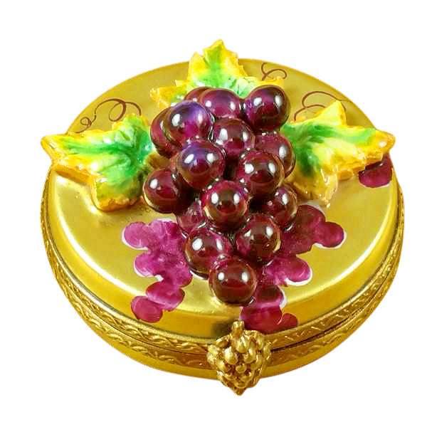 Grapes on Gold Oval Limoges Box