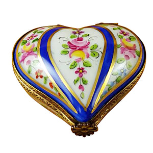 Blue Striped Heart Limoges Box