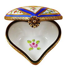 Load image into Gallery viewer, Blue Striped Heart Limoges Box