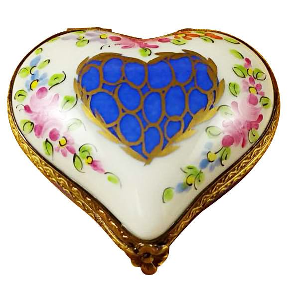 Blue Heart with Pink Flowers Limoges Box