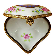Load image into Gallery viewer, Blue Heart with Pink Flowers Limoges Box