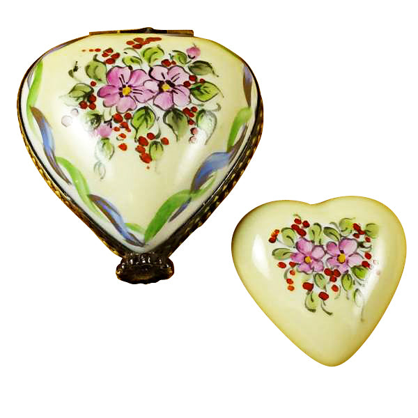 Yellow & Green Heart with Removable Heart Limoges Box