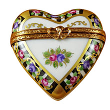 Load image into Gallery viewer, Black & White Heart Limoges Box