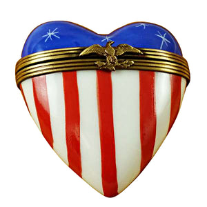 American Flag Heart Limoges Box