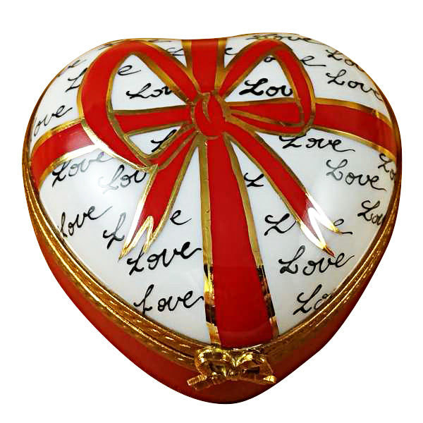Heart with Red Bow & Three Candies Limoges Box