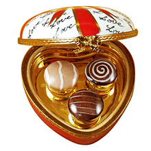 Load image into Gallery viewer, Heart with Red Bow & Three Candies Limoges Box