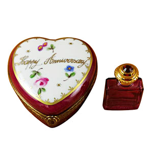 Happy Anniversary Heart with Removable Bottle Limoges Box