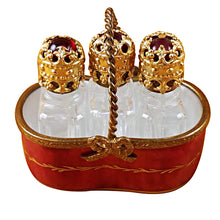 Load image into Gallery viewer, Red Basket with Three Bottles Limoges Box