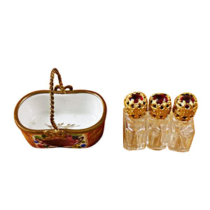 Red Basket with Three Bottles Limoges Box
