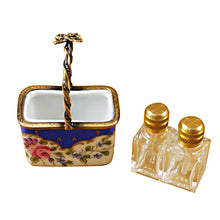 Load image into Gallery viewer, Blue Basket with Two Bottles Limoges Box