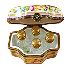 Load image into Gallery viewer, Pink Flower with Four Bottles Limoges Box