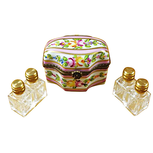 Pink Flower with Four Bottles Limoges Box