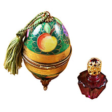 Load image into Gallery viewer, Green & Gold Egg with One Bottle Limoges Box