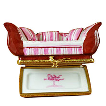 Load image into Gallery viewer, Pink Toile Sofa with Pillows Limoges Box