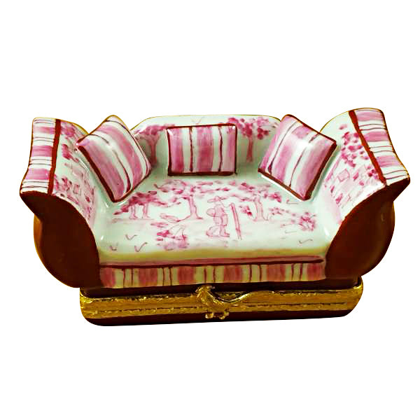 Pink Toile Sofa with Pillows Limoges Box