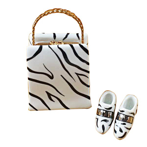 Zebra Bag with Shoes Limoges Box