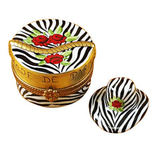 Load image into Gallery viewer, Zebra Hat Box Limoges Box