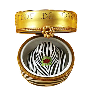 Zebra Hat Box Limoges Box