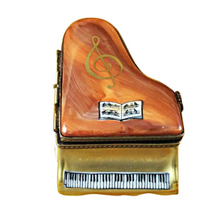 Large Brown Piano Limoges Box