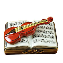 Load image into Gallery viewer, Music Book with Violin Limoges Box